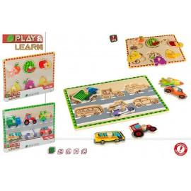 Puzzle de Madera 29x22 Cms. Frutas/Vehiculos 7 Piezas.