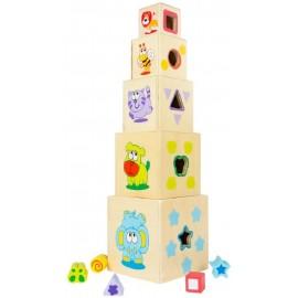 Torre de Cubos de Madera, 52 Cms., 10 Piezas