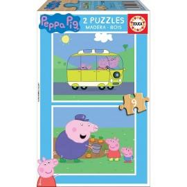 PEPPA PIG - PUZZLE 2X9 MADERA