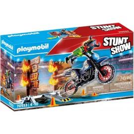 Stuntshow Moto con Muro de Fuego de Playmobil