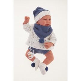 Muñeco Recien Nacido Carlo de 40 cms con mantita acolchada