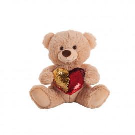 REVERSIBLE SEQUIN HEART BEARS 36 CMS.
