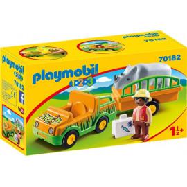 Vehiculo del Zoo con Rinoceronte de Playmobil 1.2.3.